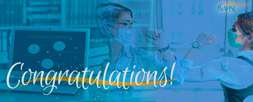 "Image that says ""Congratulations"" and shows a laptop in the foregrounds and two people wearing face masks bumping elbows."