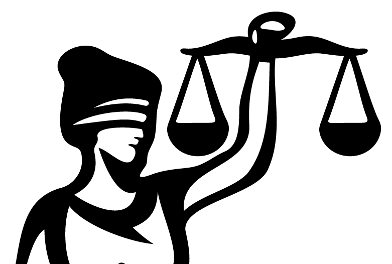 Graphic of Lady Justice with scales.