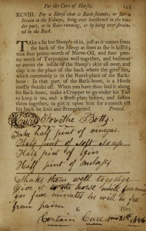 Manuscript remedy written in The Citizen and Countryman's Experience Farrier