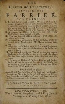 Title page of The Citizen and Countryman's Experience Farrier