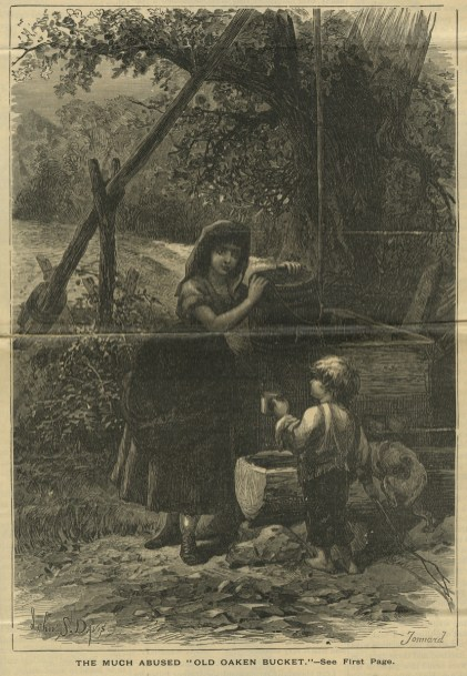 an engraving of a woman with a wooden bucket and a boy with a cup at a well.