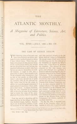 """First page of """"The Case of George Dedlow"""", Atlantic Monthly, Vol. 18, no. 105, July, 1866."""