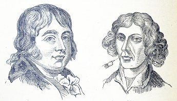 The faces of a round faced amiable looking man and a thin angular man.