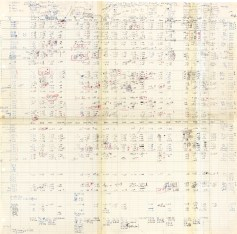 A large paper chart constructed of serveral pages taped together, handwritten in several colors of ink.