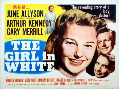 Advertisement for the Girl In White with close ups of the faces of the stars.