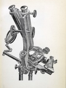 An engraving of a microscope, top view.