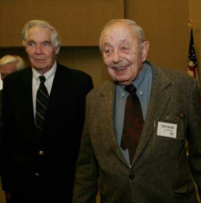 Clyde Snow smiles as he leaves the lecture hall.