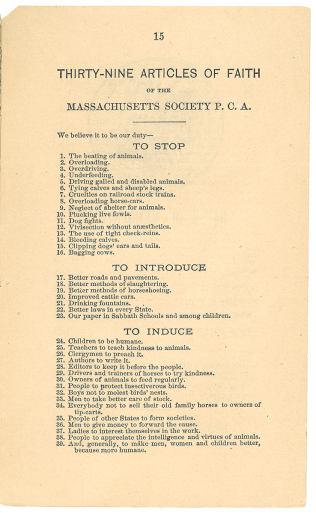 A page of the pamphlet listing the 39 articles of faith of the Massachusetts Society for the Prevention of Cruelty to Animals.