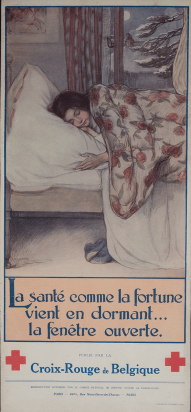 A poster of a child sleeping by an open window.