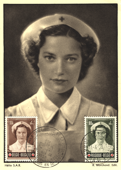 Two postmarked stamps on a postcard, all featuring the sam image of a woman in a red ross uniform.