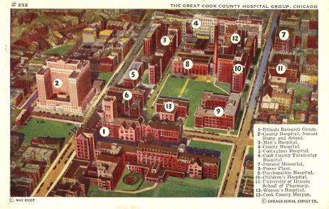 A postcard showing an arial view of the 13 building medical complex in chicago.