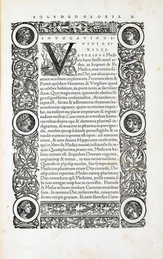 A page of Latin text headed Invocatiodi, with elaborate boarder of leaves and portraits.