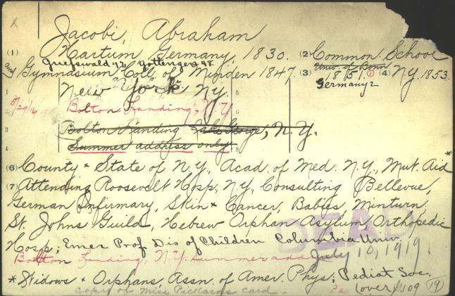 A much anotatied handwritten card stamped DEAD.