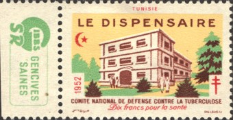 1952 stamp from Tunisia featuring a Ttuberculosis clinic. Le dispensaire.