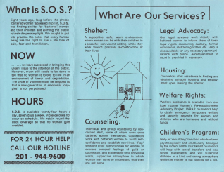 A blue paper trifold brochure for Shelter Our Sisiters.