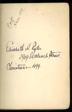 Inscription reads Elizabeth A Ryder 3939 Walnut Street Christmas 1899.