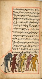 A page of handwritten text in Arabic with a red border and hand drawn and colored illustrations set into the text in red bordered boxes.