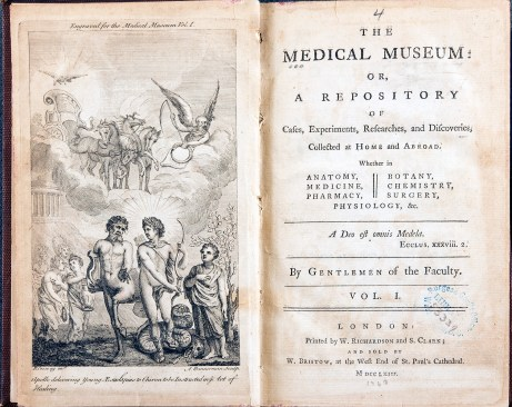 "An open book showing the title page of The Medical Museum and an engraving of ""Apollo delivering young Aesculapius to Chiron to be Instructed in the Art of Healing."""