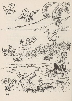 "What to eat when shipwrecked - a cartoon of animals labeled ""OK"""