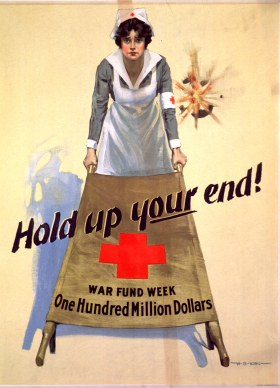 On a poster a Red Cross nurse holding up one end of a brown stretcher, and shell fire behind her.