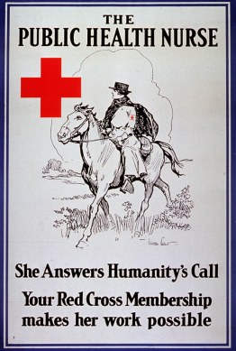 Poster illustrated with a nurse on horseback wearing a boater-style hat, a long dress with a red cross on the arm, and a dark cloak.