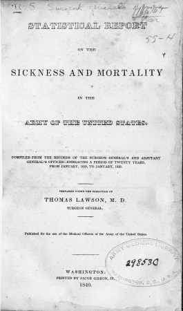 Title page of Statistical report on the sickness and mortality in the army of the United States.