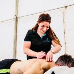 Physio on location for a post-race runner
