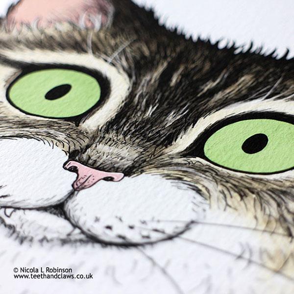 Green eyed tabby cat illustration © Nicola L Robinson www.teethandclaws.co.uk Cat art print