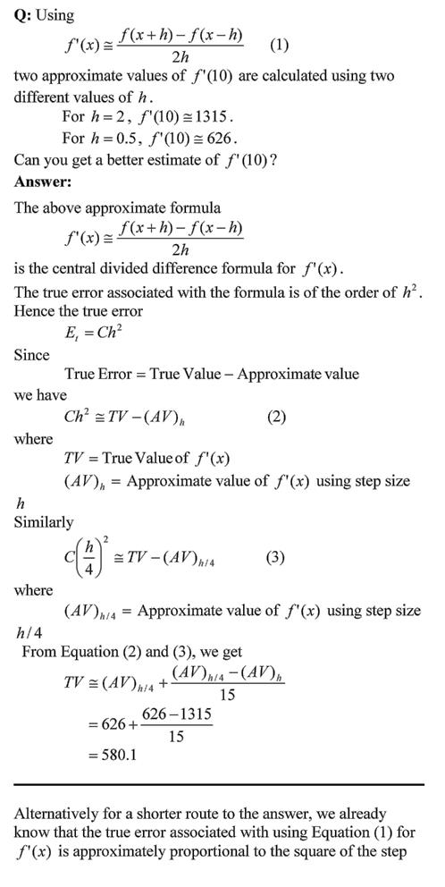 A problem using central divided difference error order – The