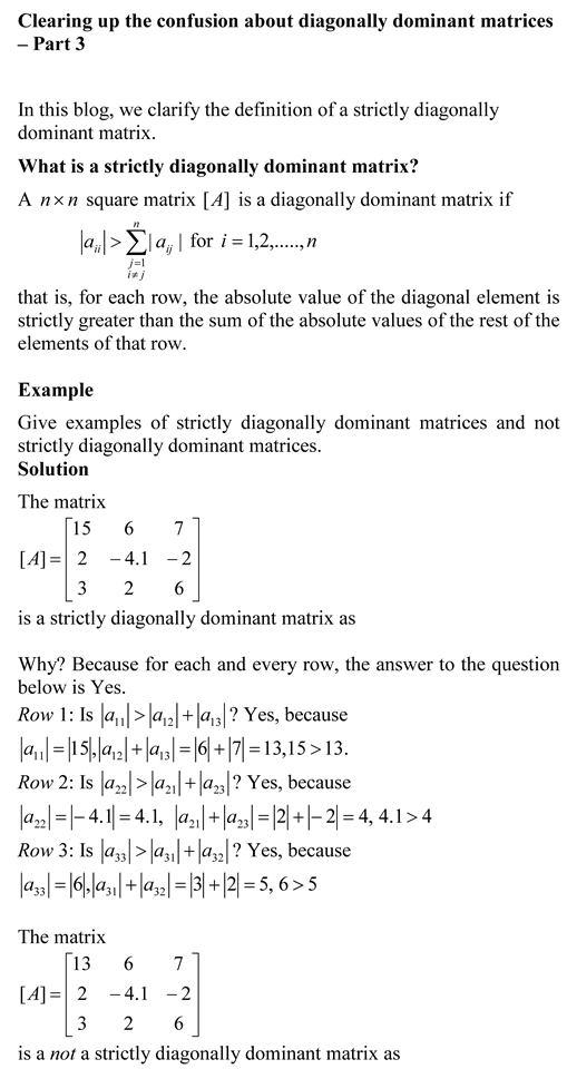 strictly diagonally dominant matrix – The Numerical Methods Guy