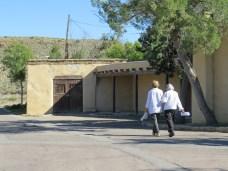 Tour participants enjoy the architecture at the dam site
