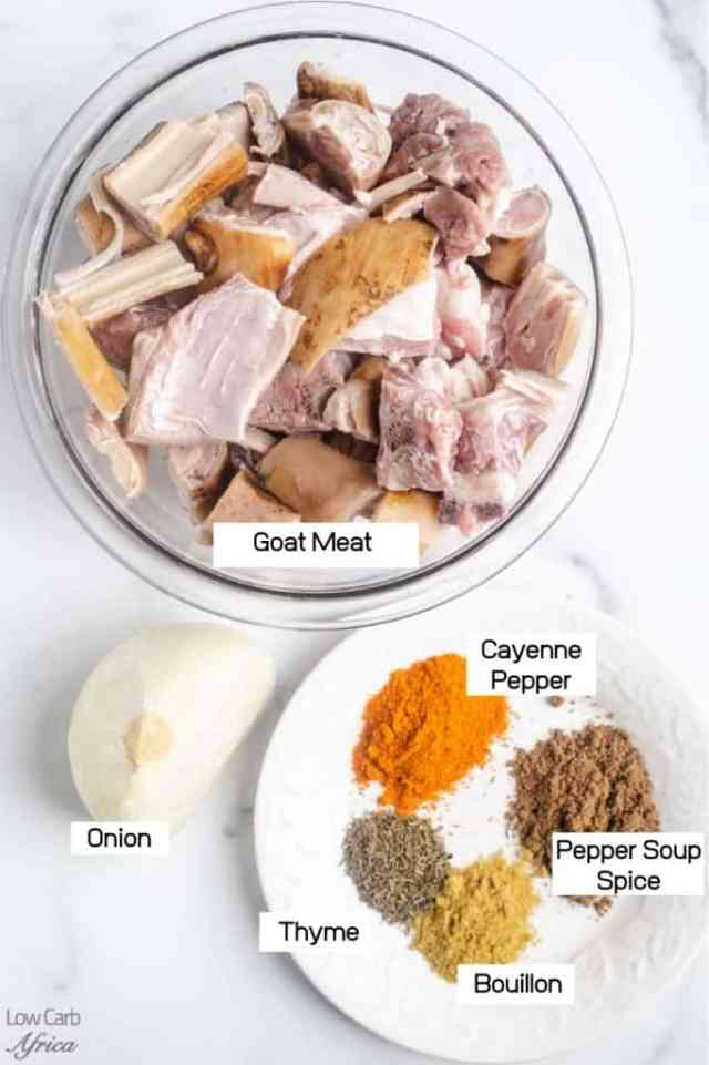 goat meat, onion, spices