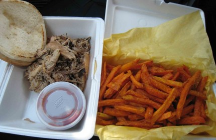 Pulled Pork Sandwich with Sweet Potato Fries