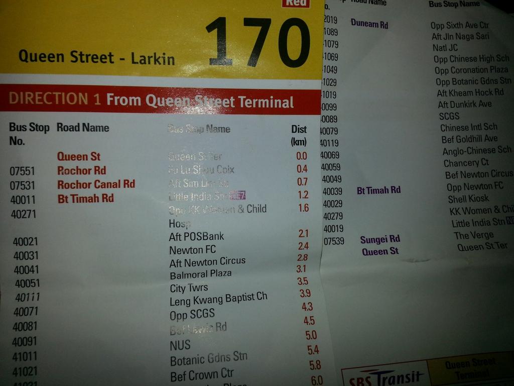 Singapore Bus Schedule