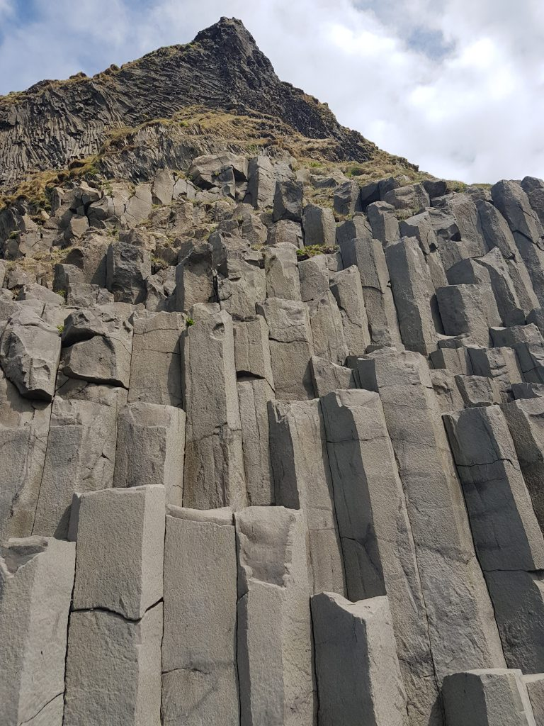 Rock formations at the beach in iceland