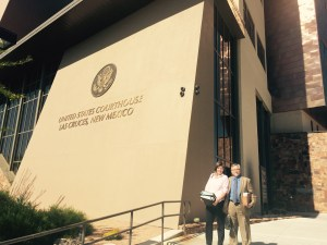 Legal Director Gail Evans and co-counsel Dan Yohalem outside the federal courthouse in Las Cruces.