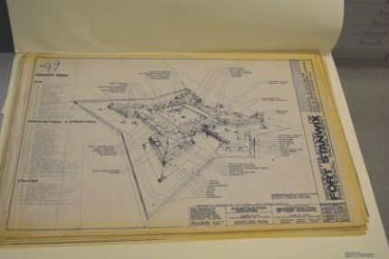 Blueprint of fort from museum collection at FOST.