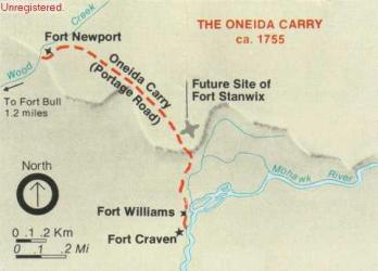 Map showing the location of the Oneida Carry. (NPS image)