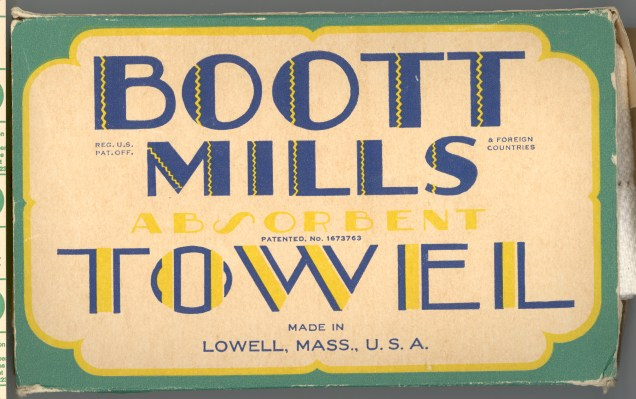 Packaging from Boott products.  In the museum collection at Lowell National Historical Park.  Photo courtesy of Lowell National Historical Park.