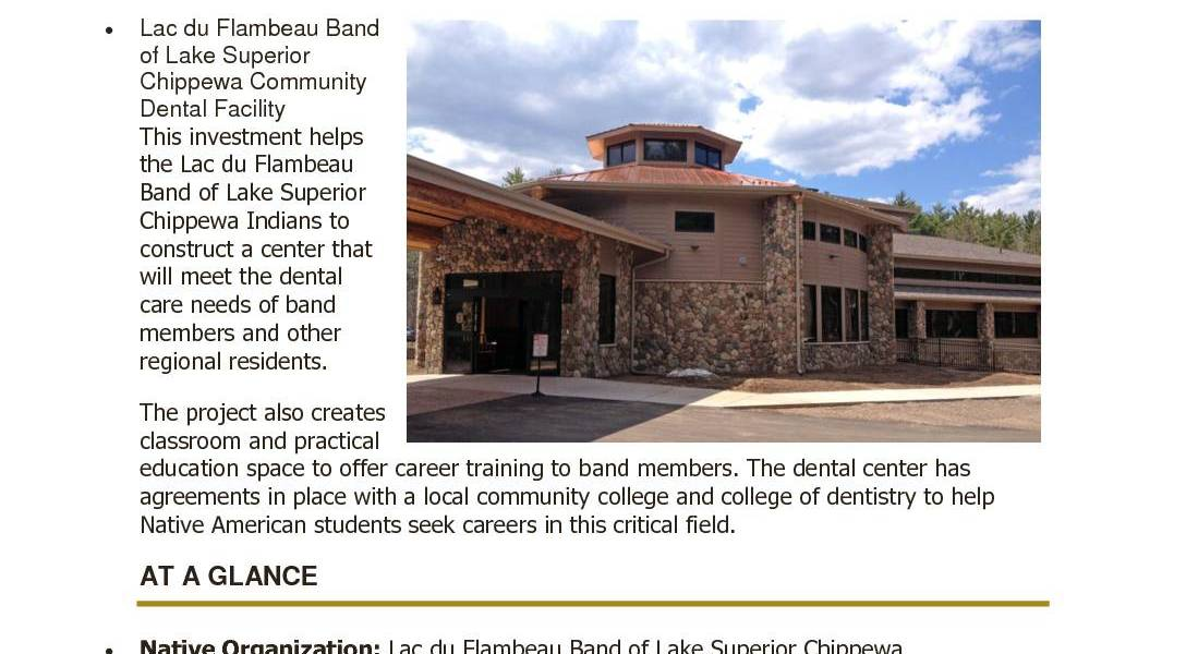Lac du Flambeau Band of Lake Superior Chippewa Community Dental Facility