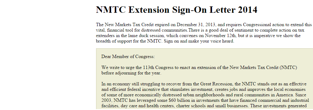 Over 1,500 Organizations Urge Congress to Extend the NMTC