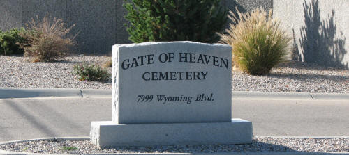 Gate of Heaven Cemetery Sign