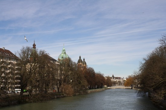 Looking North over the Isar from Ludwigsbrücke (Ludwig's bridge)