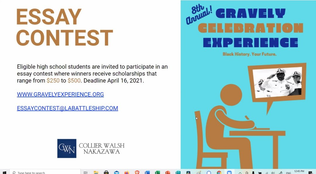 Pass the Word!  8th Annual Gravely Celebration Experience Essay Contest