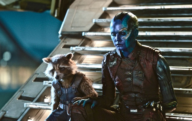 Marvel Studios' AVENGERS: ENDGAME..L to R: Rocket (voiced by Bradley Cooper) and Nebula (Karen Gillan)..Photo: Film Frame..©Marvel Studios 2019