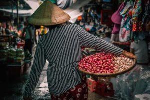 woman in rice rat in Vietnam