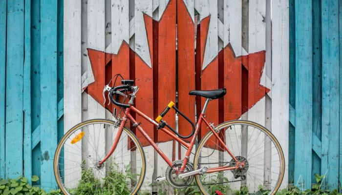bike against Canadian maple leaf painting