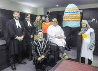 April 18/17 John McFadden/NNSL photo Mock trial main players gathered for a group photo following Humpty Dumpty's mock trial at the Yellowknife Courthouse on Tuesday. Humpty Dumpty's lawyer, played by Crown prosecutor Gary Wool, back row left, is joined by lawyer for the King Sarah Arngna'naaq, Hayley Fitzgerald who played Squire Fanmoth, Candace Seddon who played Old Lady Haggis, Kelly McLaughlin - Dr. Beaten Eggs, Benjamin Teed who played Humpty Dumpty, Laura Faryna - Sir Warthead and front row Nick Leeson the King of Carol Land.April 18/17 John McFadden/NNSL photo Mock trial main players gathered for a group photo following Humpty Dumpty's mock trial at the Yellowknife Courthouse on Tuesday. Humpty Dumpty's lawyer, played by Crown prosecutor Gary Wool, back row left, is joined by lawyer for the King Sarah Arngna'naaq, Hayley Fitzgerald who played Squire Fanmoth, Candace Seddon who played Old Lady Haggis, Kelly McLaughlin - Dr. Beaten Eggs, Benjamin Teed who played Humpty Dumpty, Laura Faryna - Sir Warthead and front row Nick Leeson the King of Carol Land.