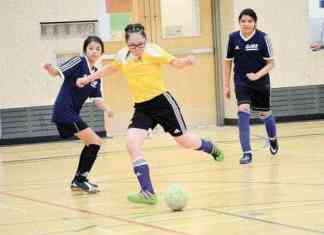 Kaleigh Niptanatiak of Kugluktuk prepares to let fly with a shot during Grade 7 girls playoff action in Diavik Junior Super Soccer in Yellowknife on April 30. James McCarthy/NNSL photo