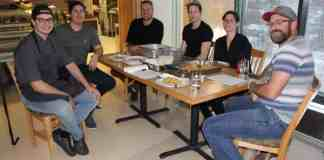 Flavour Trader is set to open Monday at the former Museum Cafe space at the Prince of Wales Northern Heritage Centre. From left are Calvin Rossouw, head chef, Travis Kamitom, cook, Jared Bihun, sous chef, Valerie Gamache, celebretrice, and Martin Guadagno, friend. Simon Whitehouse/NNSL photo